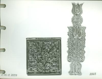 Sünös falikép és tulipános falikép /kerámia/