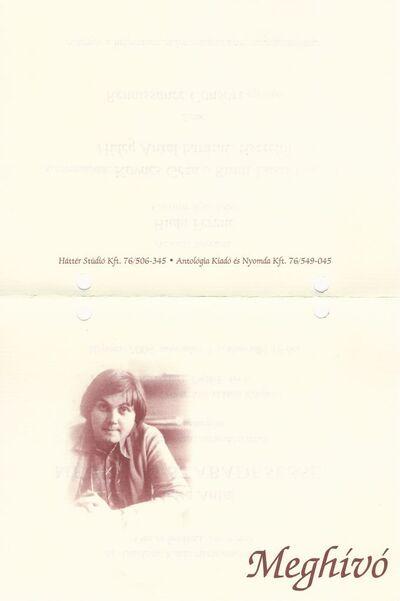 Megtelni szabadeséssel - meghívó Hideg Antal posztumusz verseskötetének bemutatójára