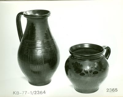 Fekete kerámia /tejes köcsög és bőszájú szilke/