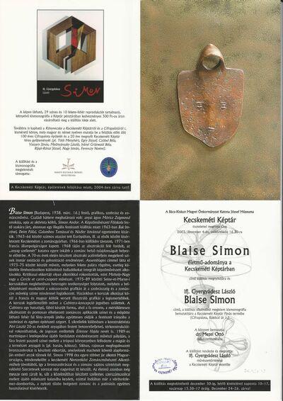 Meghívó Blaise Simon életmű-adománya című kiállításra és a Blaise Simon-kismonográfia bemutatójára