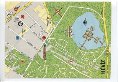 Hévíz térképe képeslapon