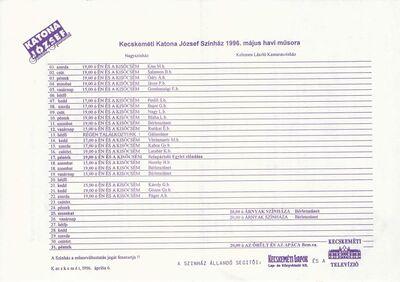 Kecskeméti Katona József Színház 1996. május havi műsora és bérleti hirdetménye az 1996/97-es évadra, valamint a kamaraszínház műsorterve