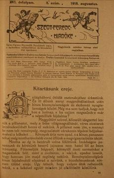 Szent Ferenc Hírnöke 1918. augusztus