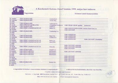 Kecskeméti Katona József Színház 1999. május havi műsora