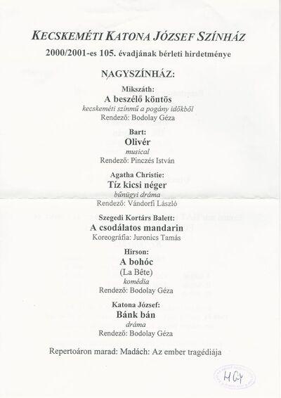 Kecskeméti Katona József Színház 2000/2001-es 105. évadjának bérleti hirdetménye