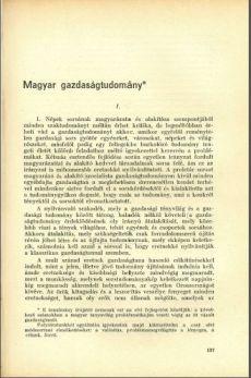 Magyar Gazdaságtudomány I.
