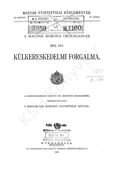 A Magyar Korona országainak 1905. évi külkereskedelmi forgalma