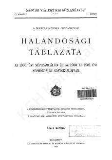 A Magyar Korona országainak halandósági táblázata az 1900. évi népszámlálási és az 1900. és 1901. évi népmozgalmi adatok alapján