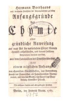 Hermann Boerhaavs: Anfangsgründe der Chymie