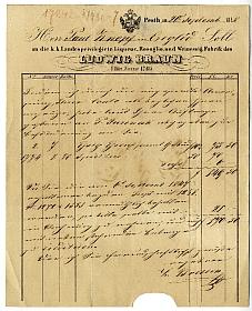L. Braun pesti likőr-, rozsolió- és ecetgyáros számlája, 1848
