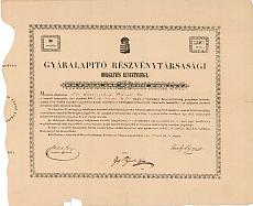 Gyáralapító Rt  ideiglenes részvényjegy, 1845