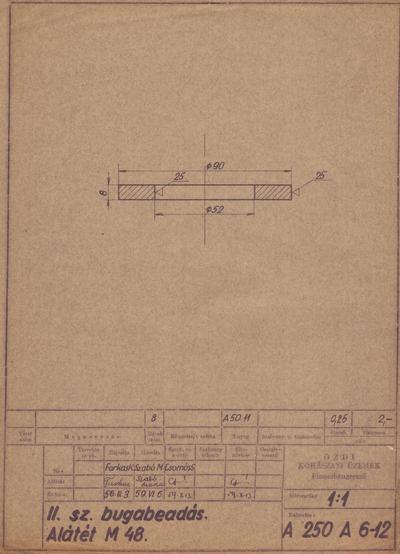 II. sz. bugabeadás. Alátét M 48