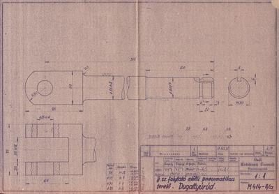 II. számú folytató előtti pneumatikus terelő. Dugattyúrúd