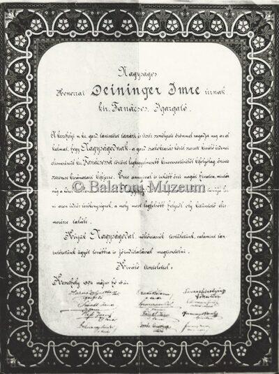A keszthelyi Akadémia tanári karának gratuláló levele 1894-ből