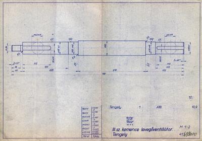 III. számú kemence levegőventilátor. Tengely