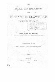 Kerpely_Die anlage_und_Einrichtung_der_Eisenhütten_1Bd