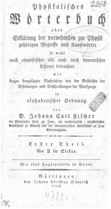 Physikalisches Wörterbuch oder Erklärung der vornehmsten zur Physik gehörigen Begriffe und Kunstwörter