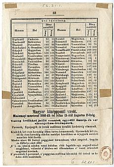 Középponti Vasút napi menetrend, 1846. júl. 15--aug. 15. között, utazási feltételekkel