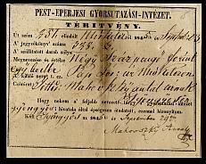 Téritvény (Tértivevény), Pest-Eperjesi Gyorsutazási-Intézet, 1845