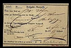 Postai levélfeladási vevény, hátoldalán szabályzattal, 1843