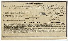 Postai csomagfeladási vevény, 1848