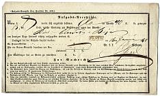 Postai csomagfeladási vevény, 1850