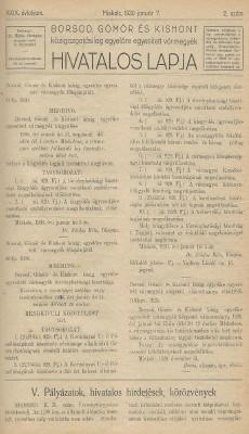 Borsod, Gömör és Kishont hivatalos lapja 1930