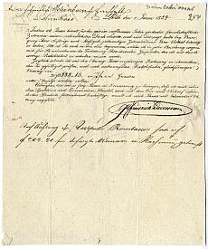 Liedemann számlakivonata a munkácsi Schönborn-uradalom részére, 1834