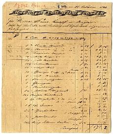 Forster Lajos Vilmos pesti fűszeres számlája, 1841