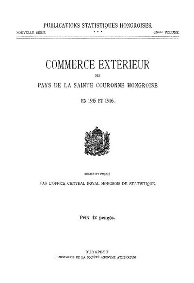 Commerce extérieur des pays de la Sainte Couronne Hongroise en 1915 et 1916