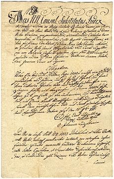 Kötelezvény Anna Catharina Scherbin részére, 1771