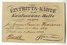 Belépőkártya a pesti Kereskedelmi Csarnokba egy évre Sám. v. Wodianer részére, 1848