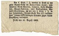 Árverési hirdetmény, 1843