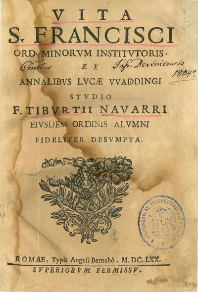 Vita S. Francisci Ord. Minorum institutoris