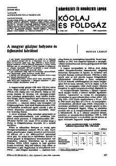 Bányászati és Kohászati Lapok Kőolaj és Földgáz 1969. évfolyam 9.szám