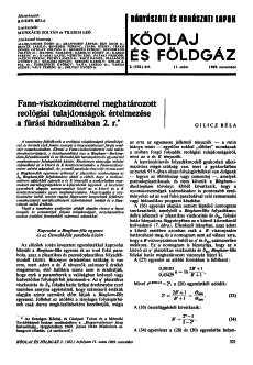 Bányászati és Kohászati Lapok Kőolaj és Földgáz 1969. évfolyam 11.szám