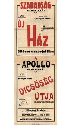 Szabadság és Apollo Filmszínház programjai 1949. február 9-15