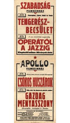 Szabadság Filmszínház és Apollo Filmszínház programjai 1949. június 22-28