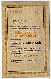 Meghívó a Világ páholy páholyavatójára, 1909