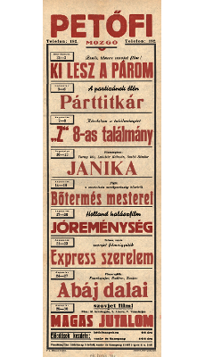 Petőfi Mozgó programjai 1949. július 31-augusztus 30-ig