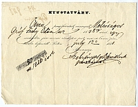 Nyugta a Nemzeti Casino tagdíjának megfizetéséről -- Zichy Ödön, 1848