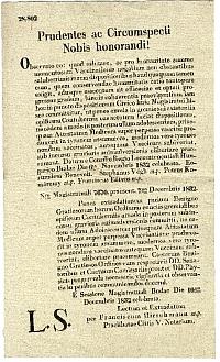 Budai tanácsi jegyzőkönyvi kivonat a himlőoltásról, 1832