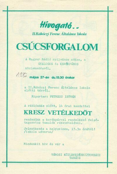 Hívogató : májusi programok a II. Rákóczi Ferenc Általános Iskolában