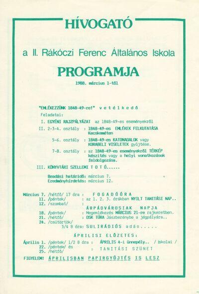 Hívogató : 1988. márciusi programok a II. Rákóczi Ferenc Általános Iskolában