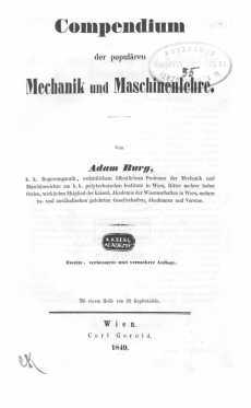 Compendium der populären Mechanik und Maschinenlehre