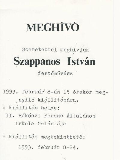Meghívó Szappanos István festőművész kiállításának megnyitójára