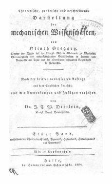Theoretische, praktische und beschreibende Darstellung der mechanischen Wissenschaften