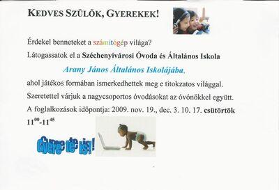 Számítógépes foglalkozások óvodásoknak a Széchenyivárosi Óvoda és Általános Iskola Arany János Általános Iskolájában