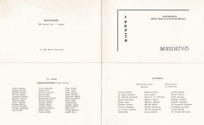 Meghívó a Jókai Mór Általános Iskola 1970-ben végzett tanulóinak ballagási ünnepségére