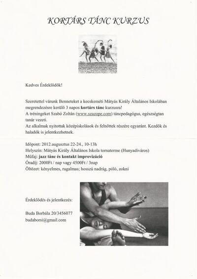 Kortárs tánc kurzus a Mátyás Király Általános Iskolában